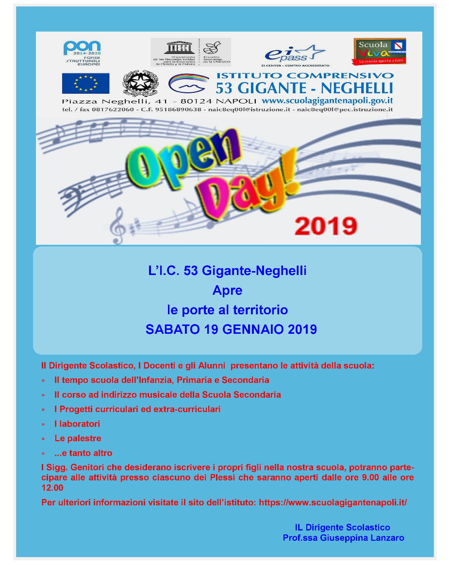 Open Day sabato 19 gennaio 2019 -  Brouchure